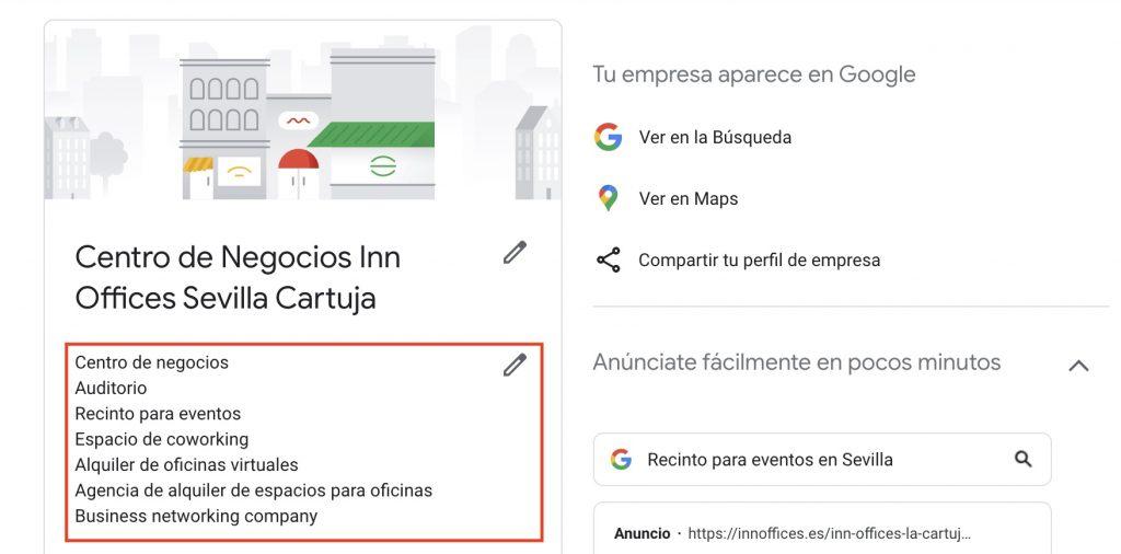 categorías de la ficha de Google My Business