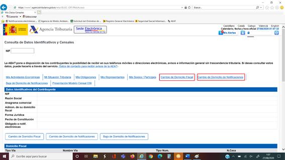 captura de la pagina web de la Agencia Tributaria